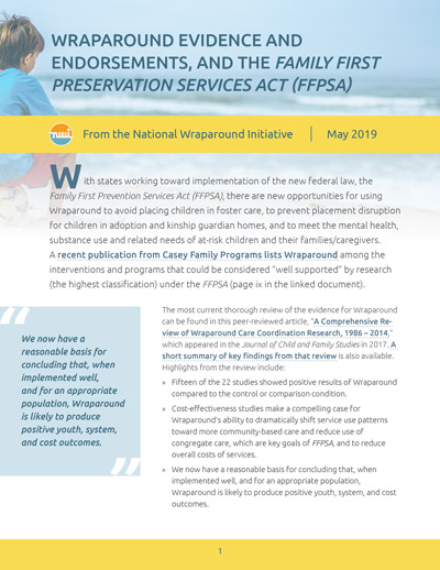 Wraparound Evidence and Endorsements, and the Families First Preservation Services Act (FFPSA)