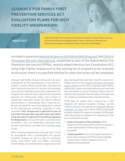 Guidance for Family First Prevention Services Act Evaluation Plans for High Fidelity Wraparound
