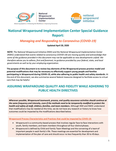 NWIC Special Guidance Report on COVID-19