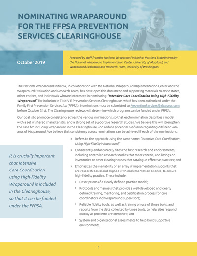 Nominating Wraparound for the FFPSA Prevention Services Clearinghouse