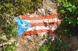Rock painting of Puerto Rico flag